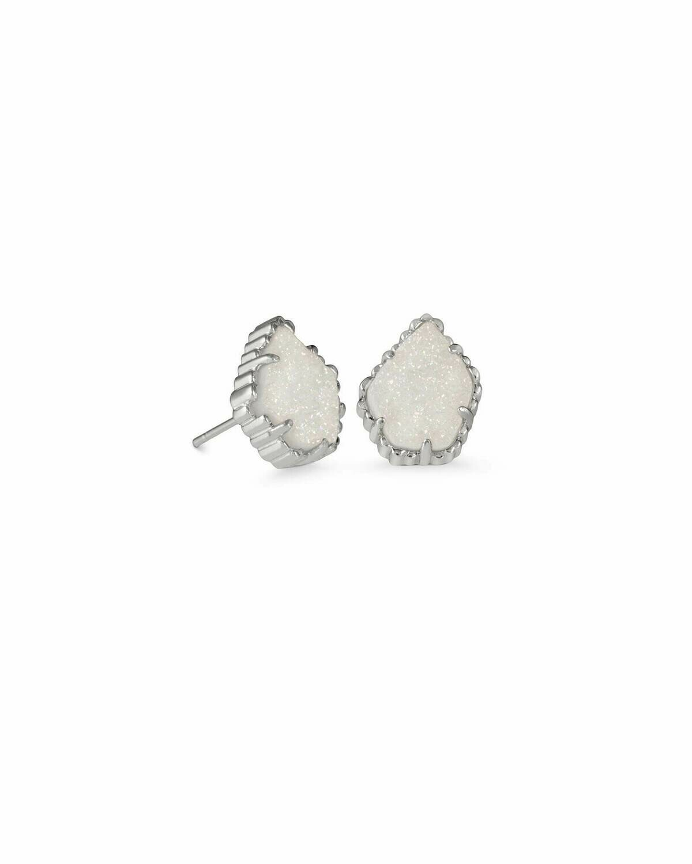 Kendra Scott Tessa Silver Stud Earrings In Iridescent Drusy