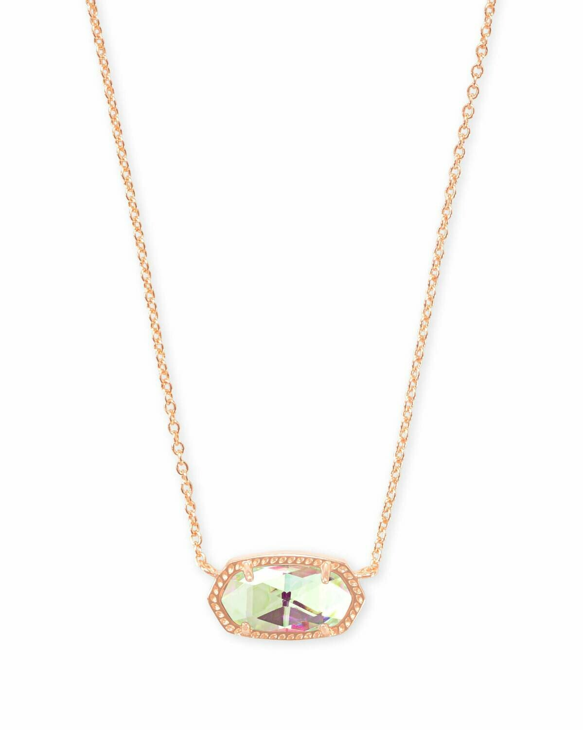 Kendra Scott Elisa Rose Gold Pendant Necklace In Dichroic Glass