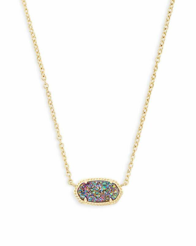 Kendra Scott Elisa Gold Pendant Necklace In Multicolor Drusy