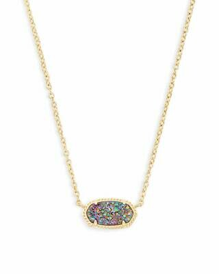 Kendra Scott Elisa Gold Pendant Necklace In Multicolor Drusy