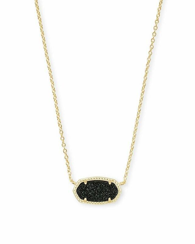 Kendra Scott Elisa Gold Pendant Necklace In Black Drusy
