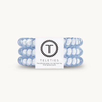 TELETIES Small Hair Ties, Washed Denim