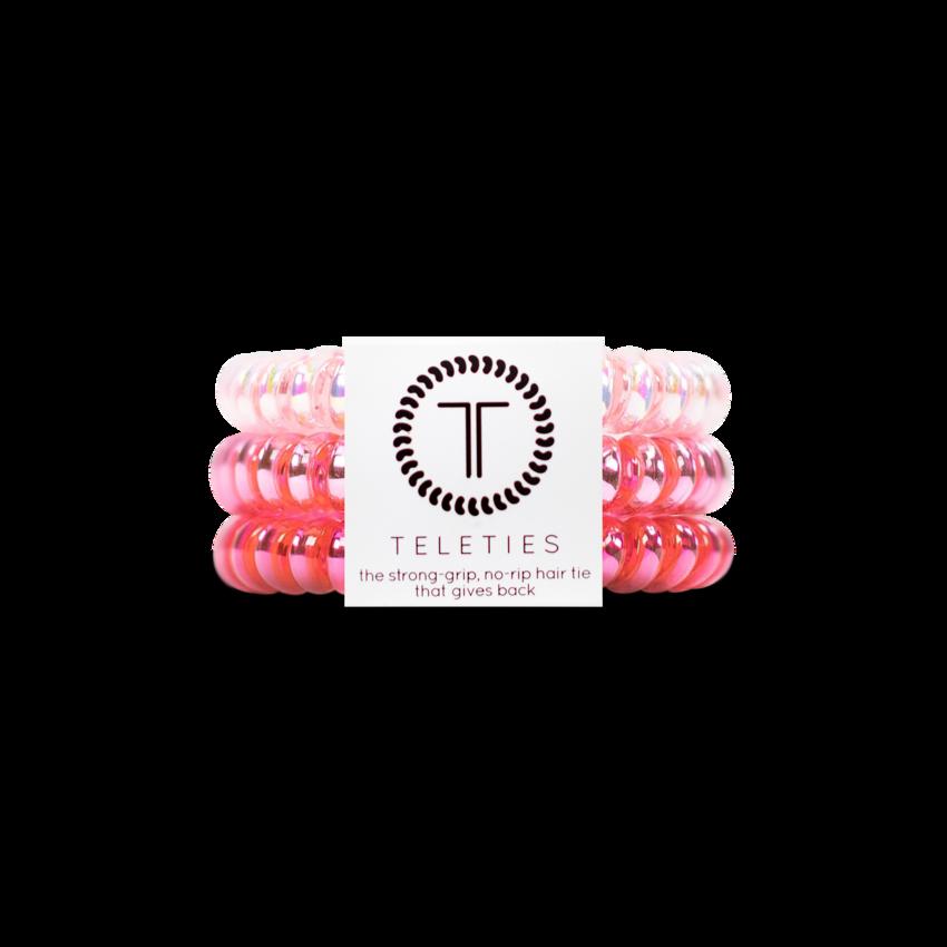 TELETIES Small Hair Ties, Think Pink