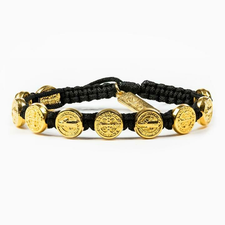 MSMH Benedictine Blessing Bracelet (Gold/Black)