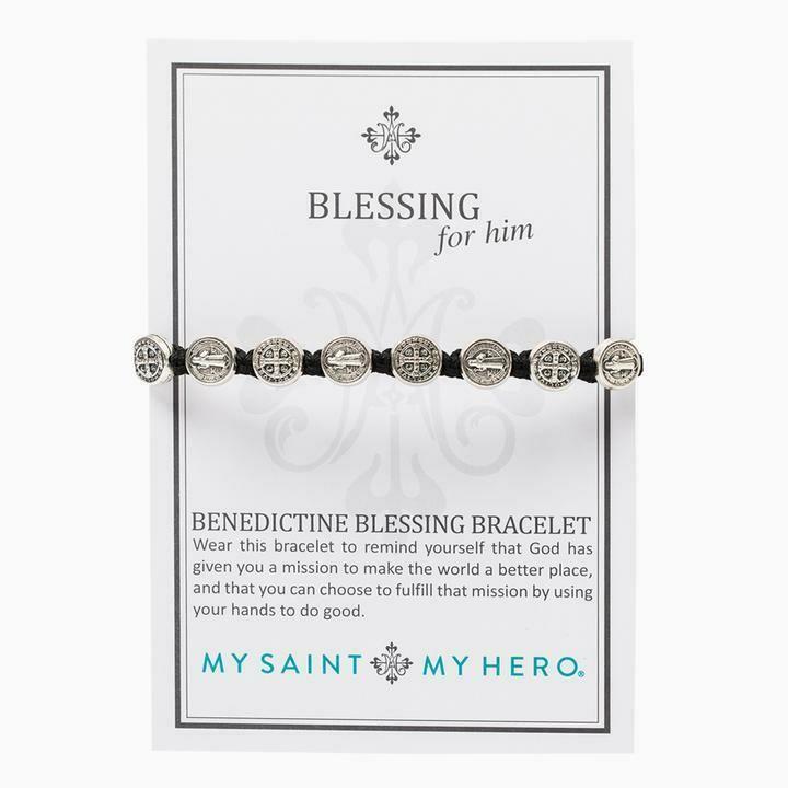 MSMH Benedictine Blessing Bracelet For Him (Silver/Black)