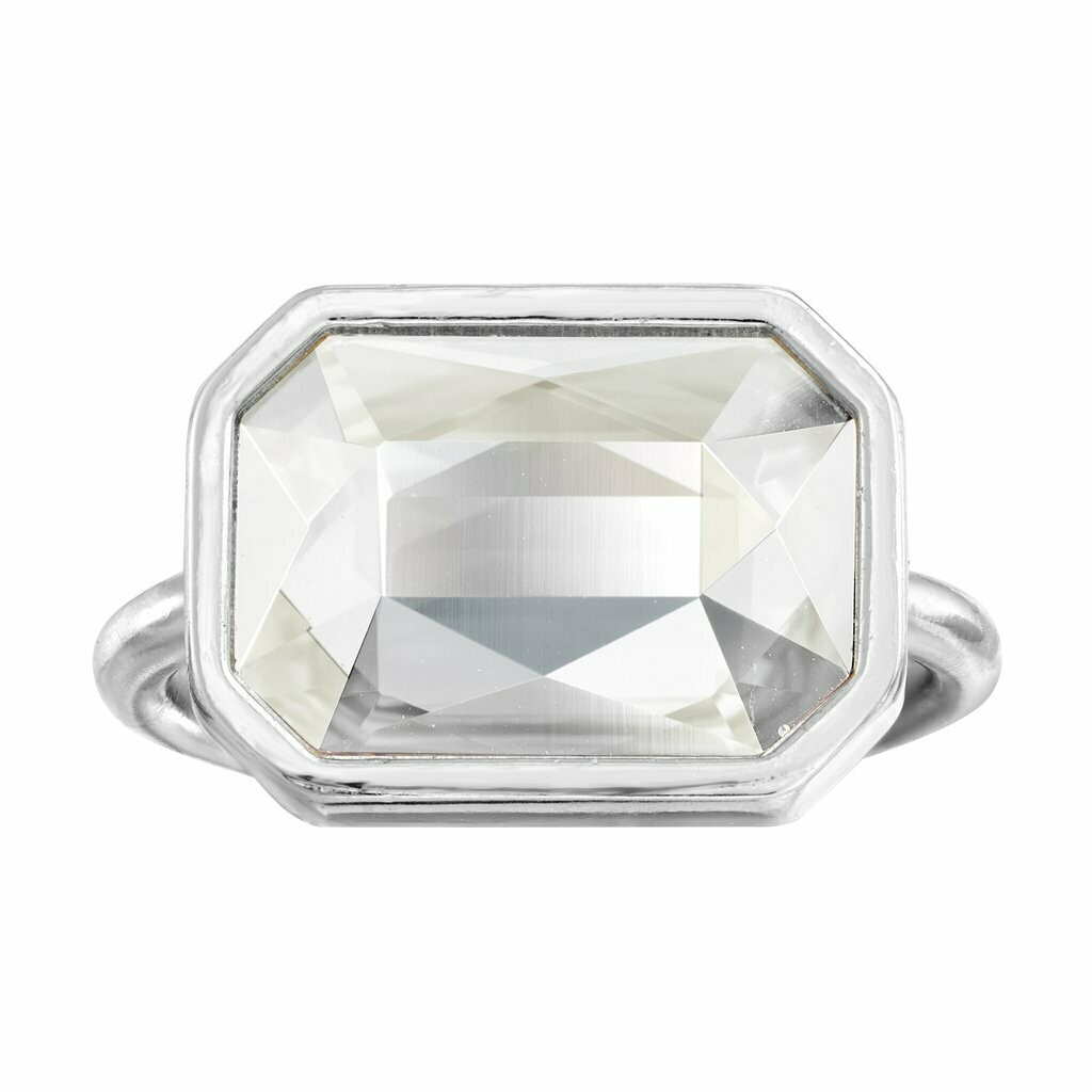 Luca + Danni Clear Crystal Dylan Cocktail Ring (Silver)