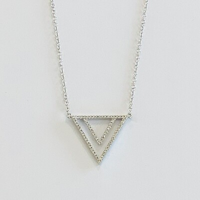 Ella Stein Two By Triangle Necklace (Silver)