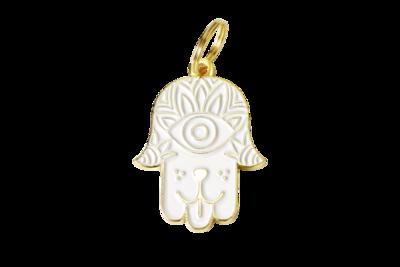 Pet ID Tag - White & Gold Hamsa