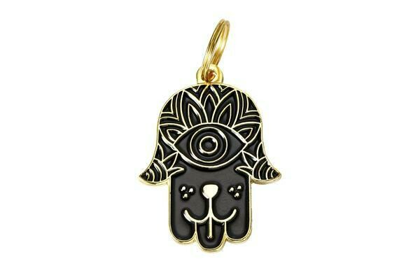 Pet ID Tag - Black & Gold Hamsa