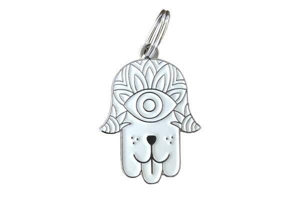 Pet ID Tag - White & Silver Hamsa