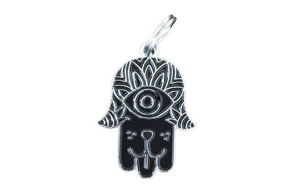 Pet ID Tag - Black & Silver Hamsa