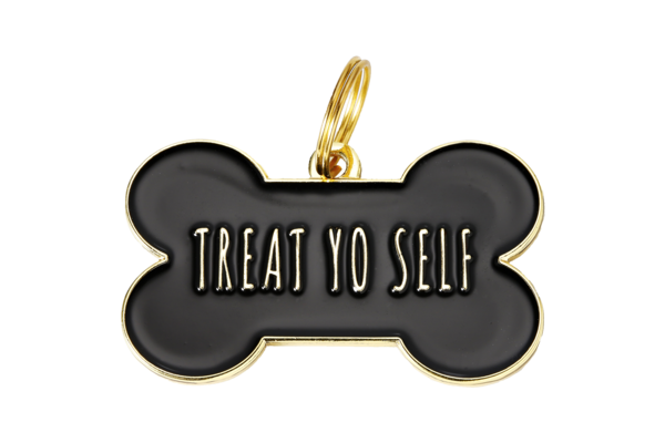 Pet ID Tag - Treat You Self, Black