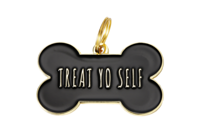Pet ID Tag - Treat You Self, Black