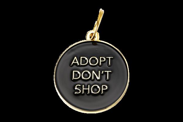 Pet ID Tag - Adopt Don't Shop, Black