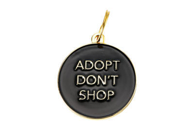 Pet ID Tag - Adopt Don't Shop, Black