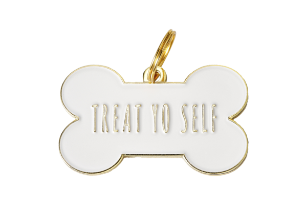 Pet ID Tag - Treat Yo Self, White