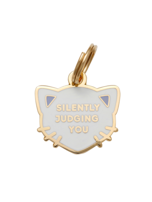 Pet ID Tag - Silently Judging You, White