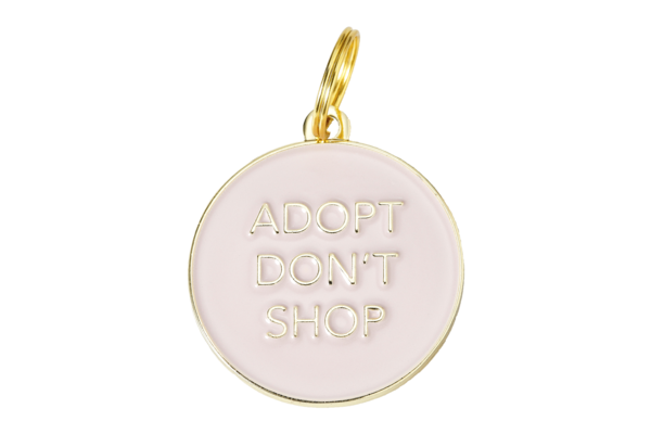 Pet ID Tag - Adopt Don't Shop, Pink