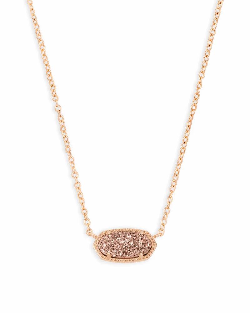 Kendra Scott Elisa Rose Gold Pendant Necklace In Rose Gold Drusy