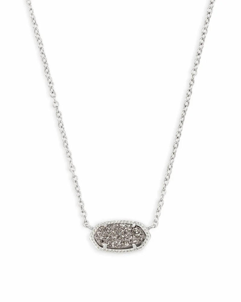 Kendra Scott Elisa Silver Pendant Necklace In Platinum Drusy
