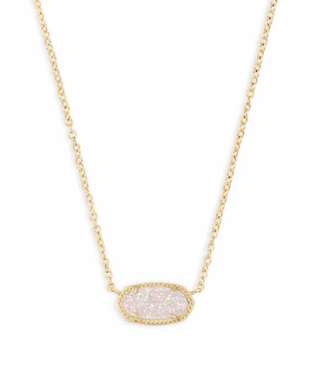 Kendra Scott Elisa Gold Pendant Necklace In Iridescent Drusy
