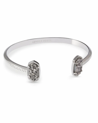 Kendra Scott Elton Silver Cuff Bracelet In Platinum Drusy