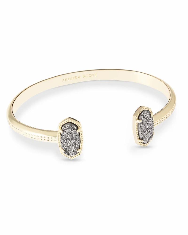 Kendra Scott Elton Gold Cuff Bracelet in Platinum Drusy