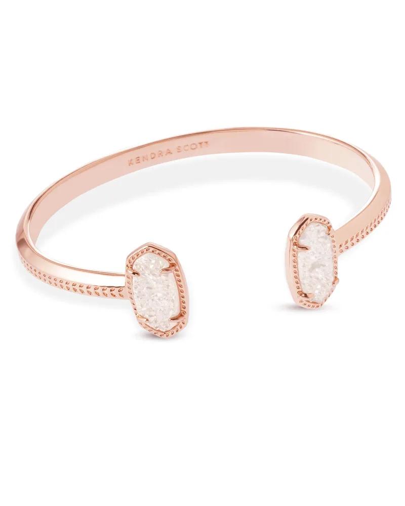 Kendra Scott Elton Rose Gold Cuff Bracelet In Iridescent Drusy