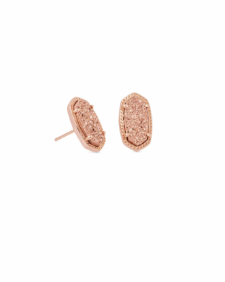 Kendra Scott Ellie Rose Gold Stud Earrings In Rose Gold Drusy
