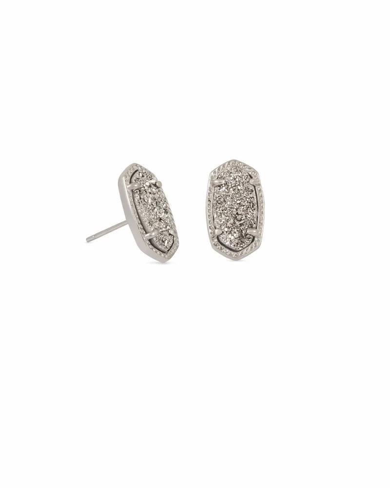 Kendra Scott Ellie Silver Stud Earrings In Platinum Drusy