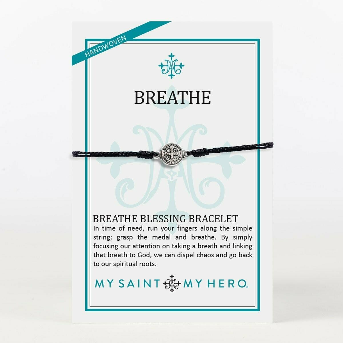 Breathe Blessing Bracelet (Silver/Black)