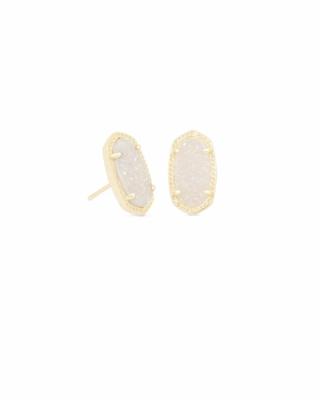 Kendra Scott Ellie Gold Stud Earrings In Iridescent Drusy