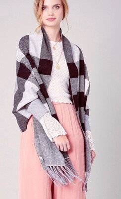 **PREORDER** Gray Plaid Cape