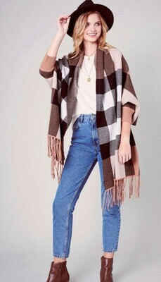 **PREORDER** Tan Plaid Cape