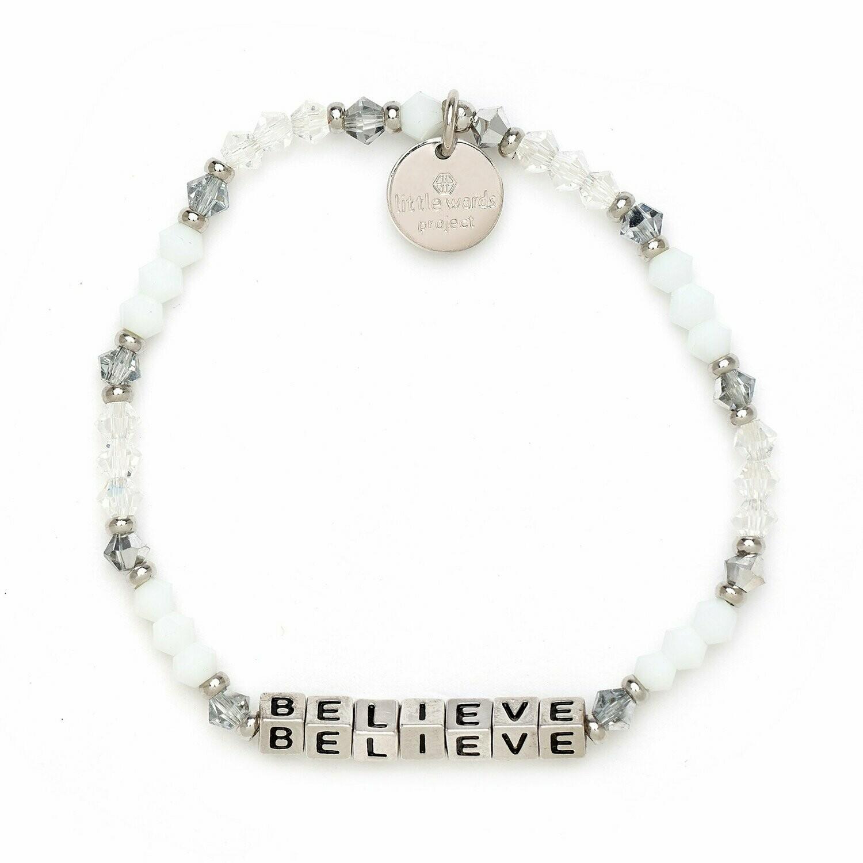 Little Words Project Silver BELIEVE Bracelet