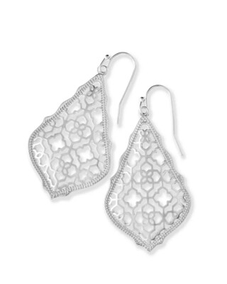 Kendra Scott Addie Silver Drop Earrings in Silver Filigree