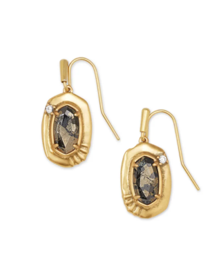 Kendra Scott Anna Vintage Gold Small Drop Earrings In Black Pyrite