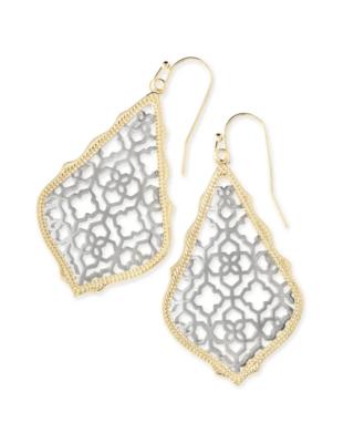 Kendra Scott Addie Gold Drop Earrings In Silver Filigree