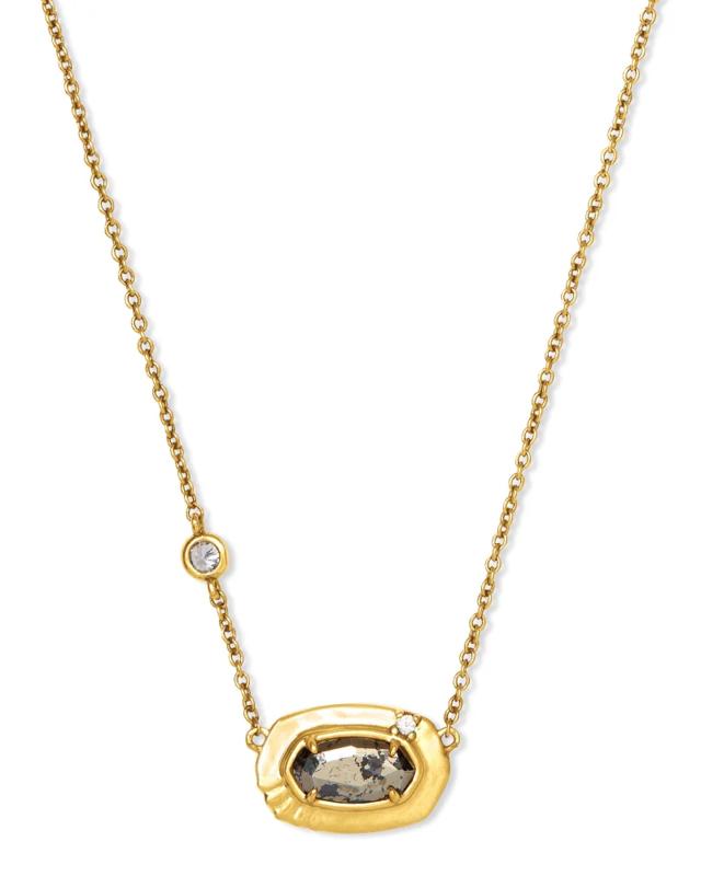 Kendra Scott Anna Vintage Gold Pendant Necklace In Black Pyrite