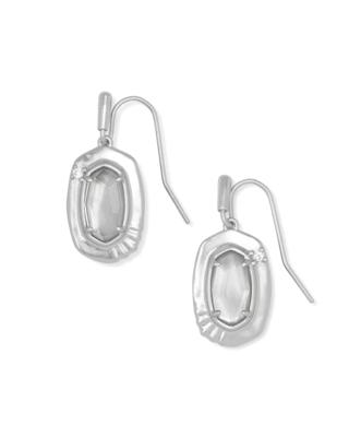 Kendra Scott Anna Silver Small Drop Earrings In Gray Illusion
