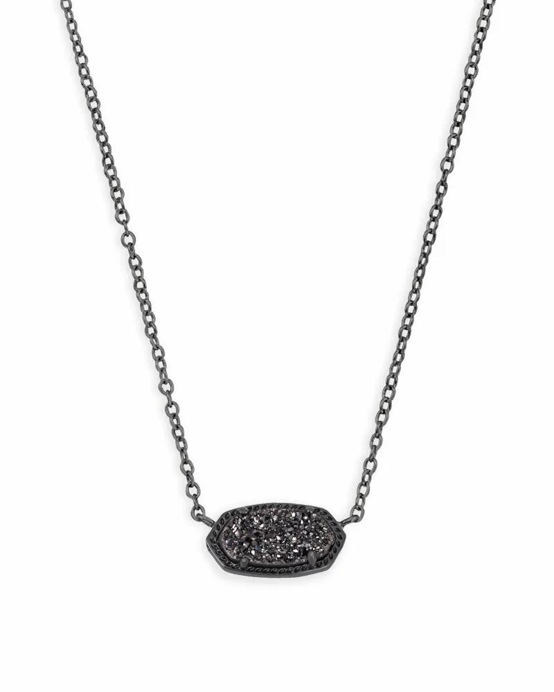 Kendra Scott Elisa Gunmetal Pendant Necklace in Black Drusy