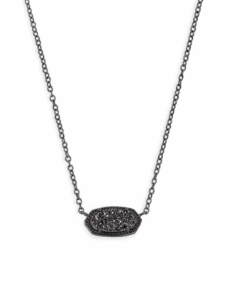 Kendra Scott Elisa Gunmetal Pendant Necklace in Black Drusy