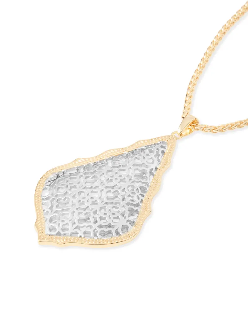 Kendra Scott Aiden Gold Long Pendant Necklace in Silver Filigree Mix