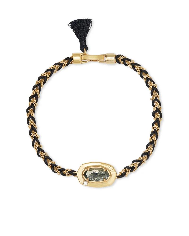 Kendra Scott Anna Vintage Gold Friendship Bracelet In Black Pyrite