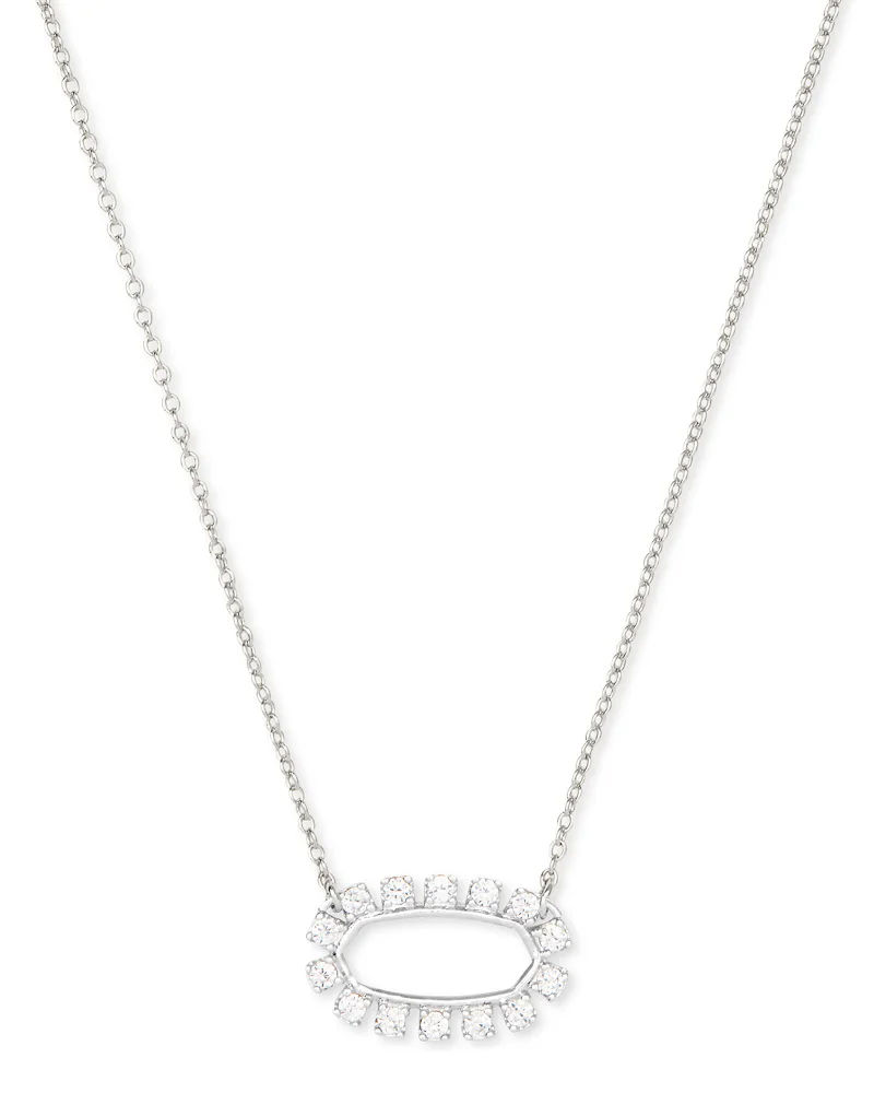 Kendra Scott Elisa Open Frame Crystal Pendant Necklace In Silver