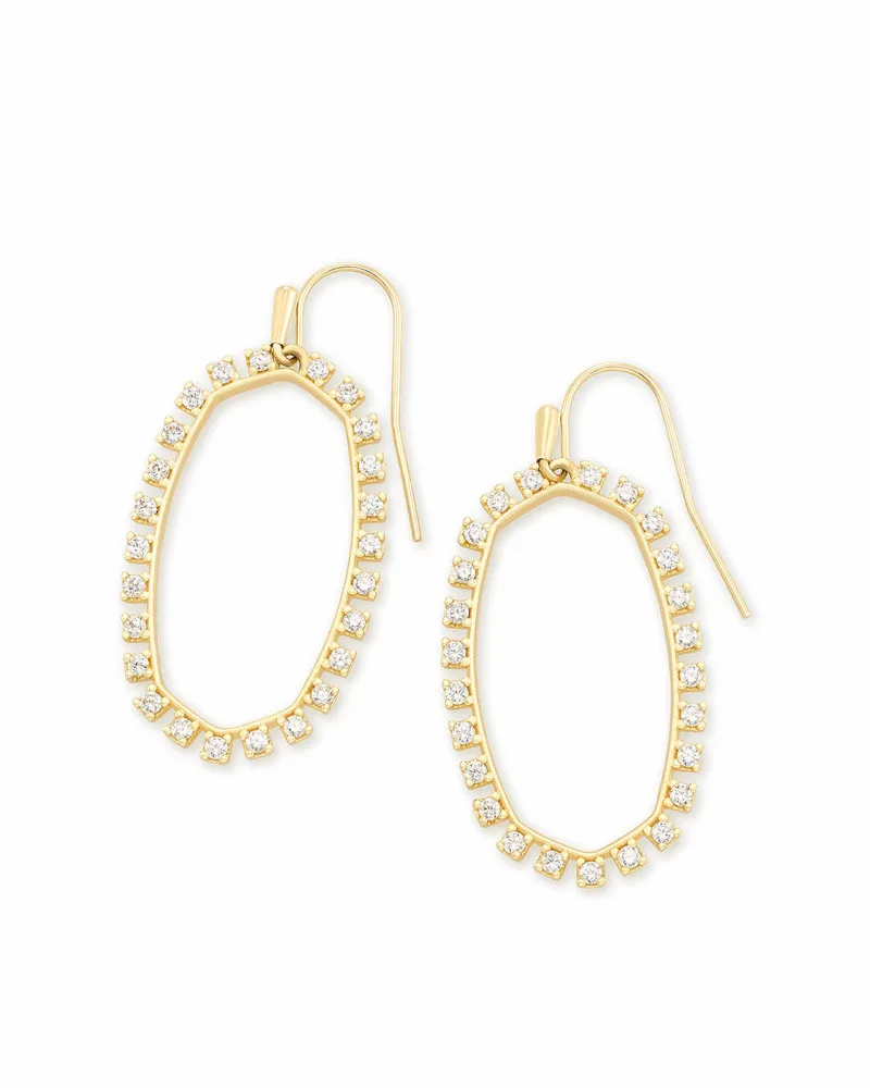 Kendra Scott Elle Open Frame Crystal Drop Earrings In Gold