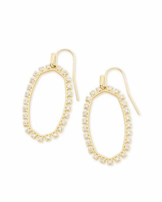 Kendra Scott Elle Open Frame Crystal Drop Earrings In Gold