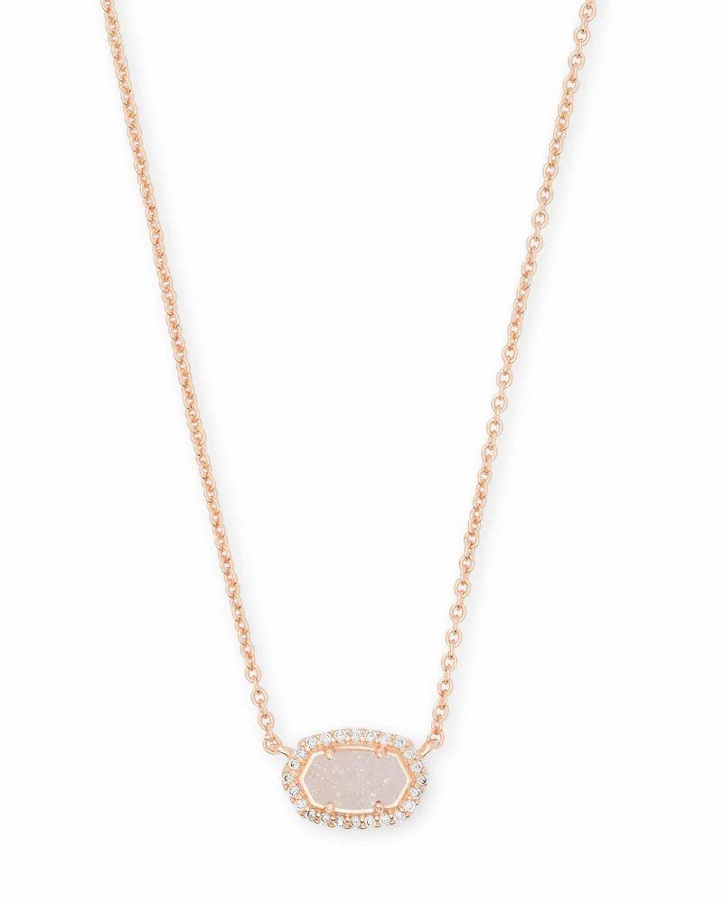 Kendra Scott Chelsea Rose Gold Pendant Necklace in Iridescent Drusy