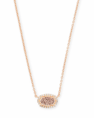 Kendra Scott Chelsea Rose Gold Pendant Necklace in Rose Gold Drusy