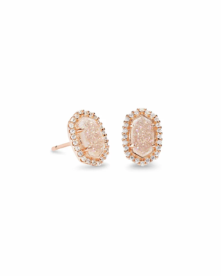 Kendra Scott Cade Rose Gold Stud Earrings in Iridescent Drusy